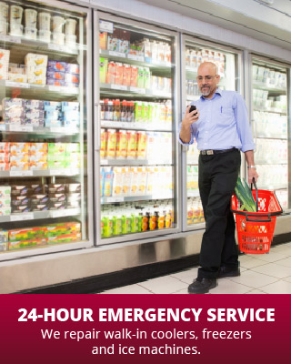 24-hour Emergency Service | We repair walk-in coolers, freezers and ice machines. | store freezer